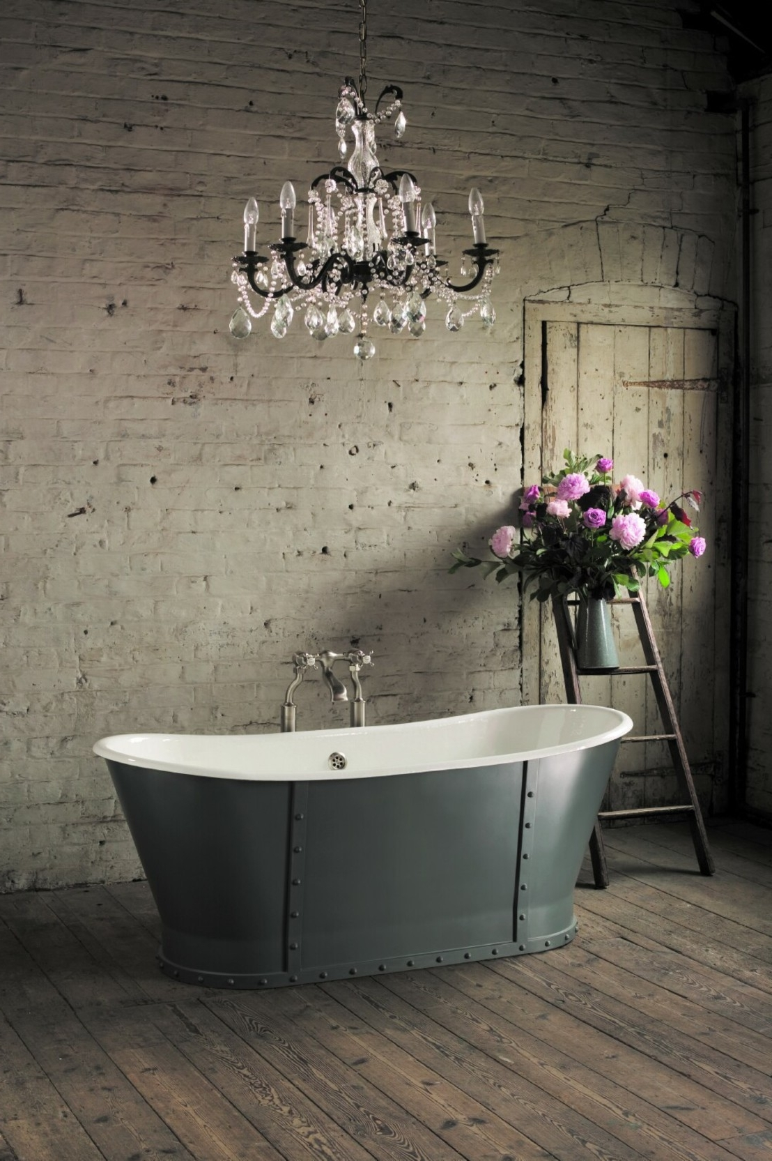Best And Newest Chandelier In The Bathroom Inside Bathroom: Bathroom Chandeliers Crystals Over Tub In A Rustic (View 15 of 20)