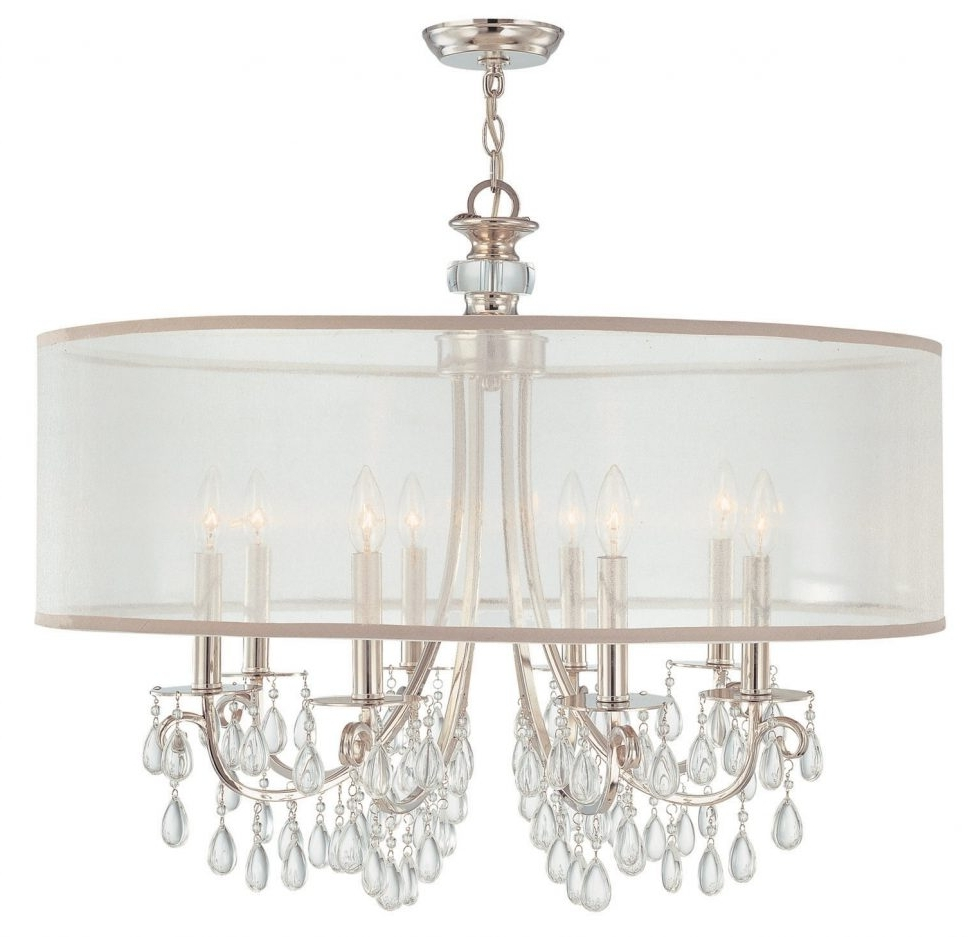 Best And Newest Chandeliers Design : Magnificent Crystal Chandelier With Black Drum With Chandelier With Shades And Crystals (View 8 of 20)