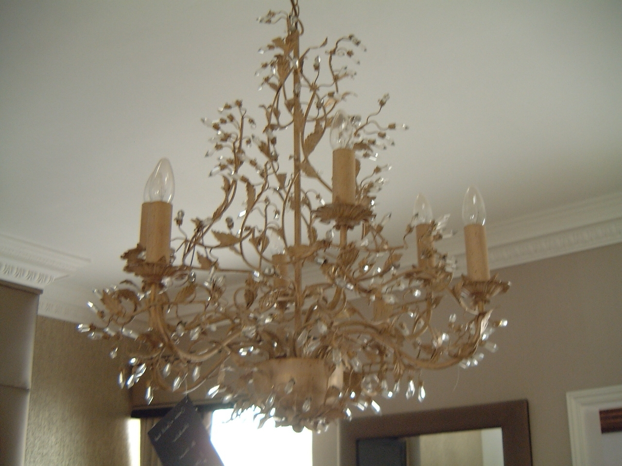 Best And Newest Cream And Gold Leaf Chandelier – Hampton Court Interiors Regarding Gold Leaf Chandelier (View 7 of 20)
