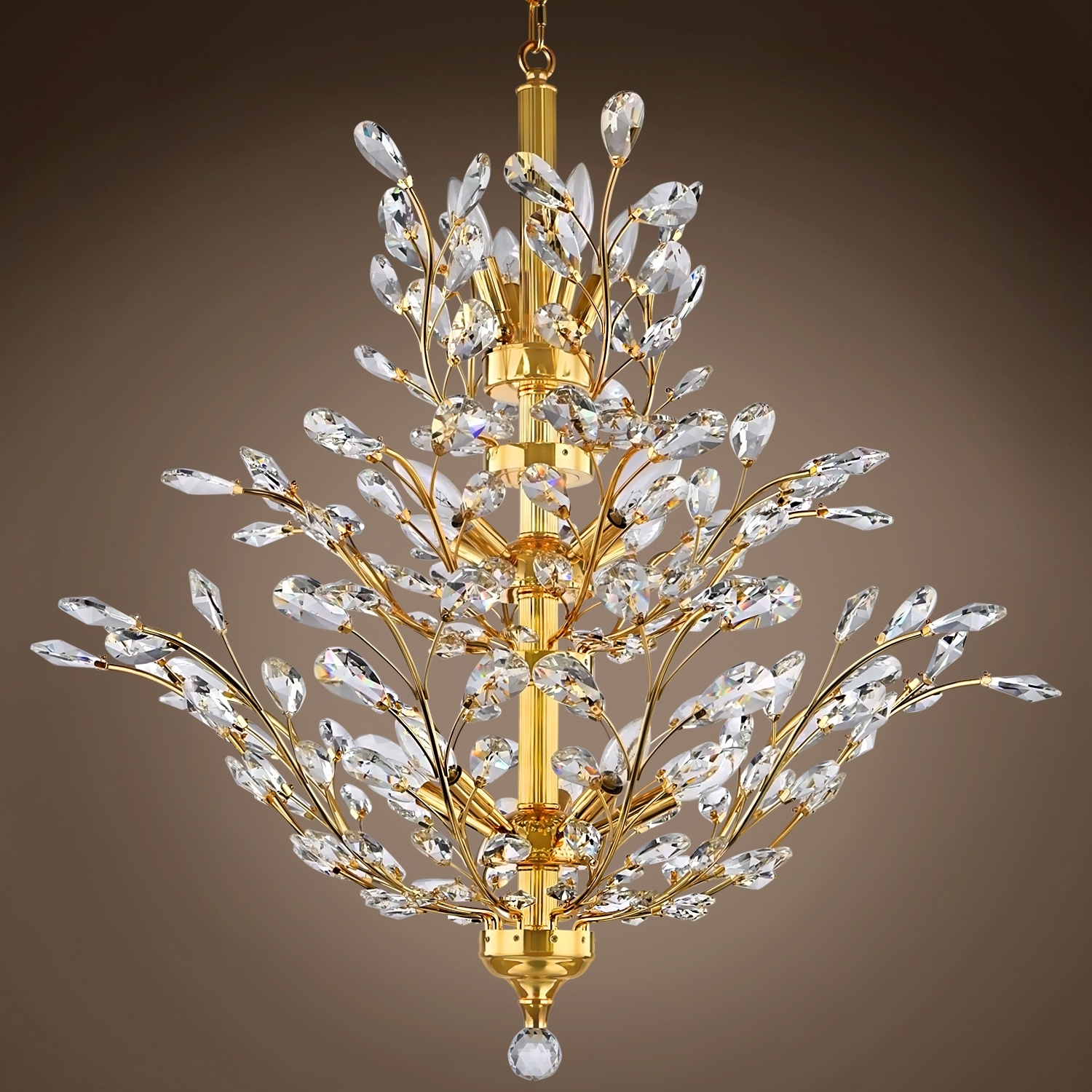 Best And Newest Crystal Branch Chandelier In Joshua Marshal 700861 Branch Of Light 10 Light Gold Chandelier With (View 3 of 20)