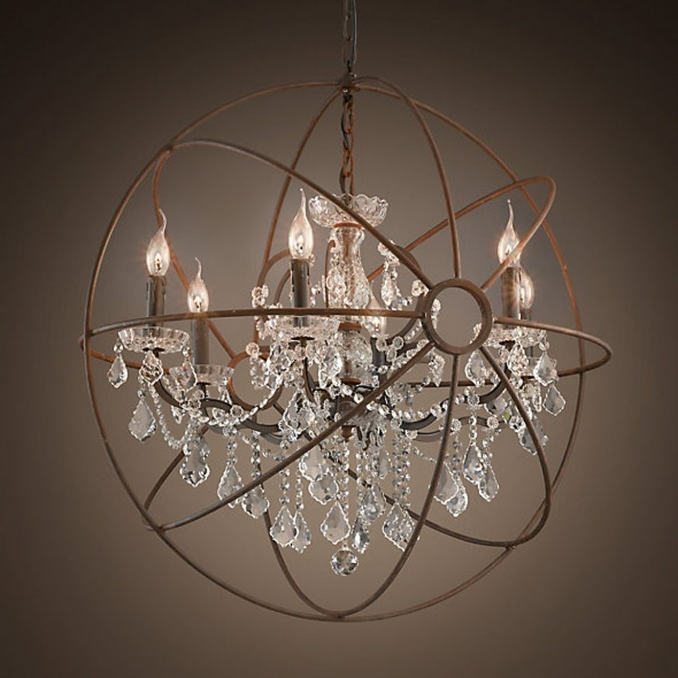 Best And Newest Crystal Globe Chandelier Inside Chandeliers Design : Magnificent Rustic Orb Chandelier Crystals (View 8 of 20)