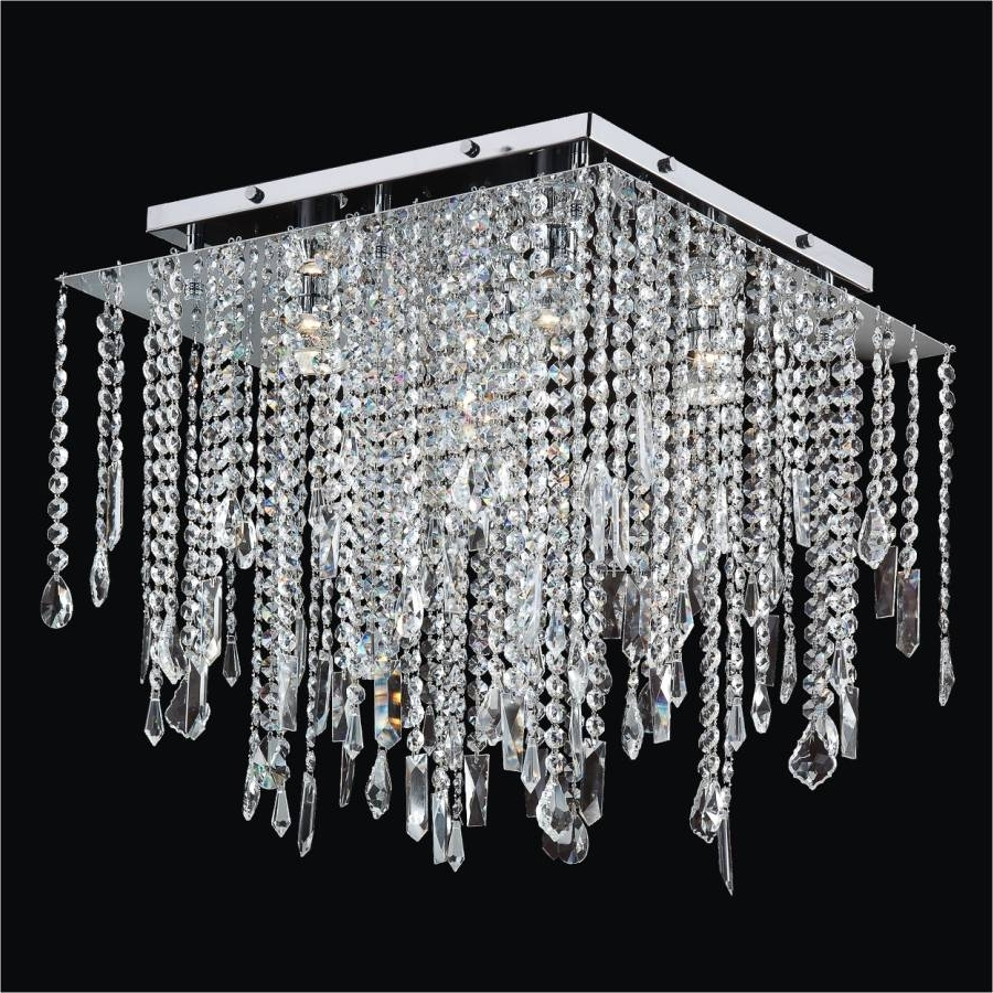 Best And Newest Flush Chandelier Ceiling Lights Within Square Crystal Ceiling Light – Crystal Drop Flush Ceiling Light (View 9 of 20)