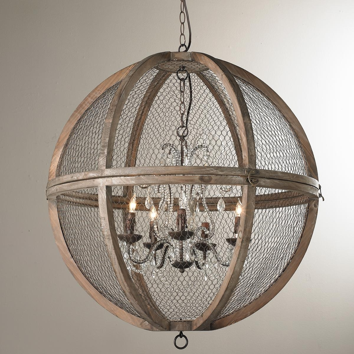 Best And Newest French Wooden Chandelier For Wire Sphere Crystal Chandelier – Large (View 2 of 20)