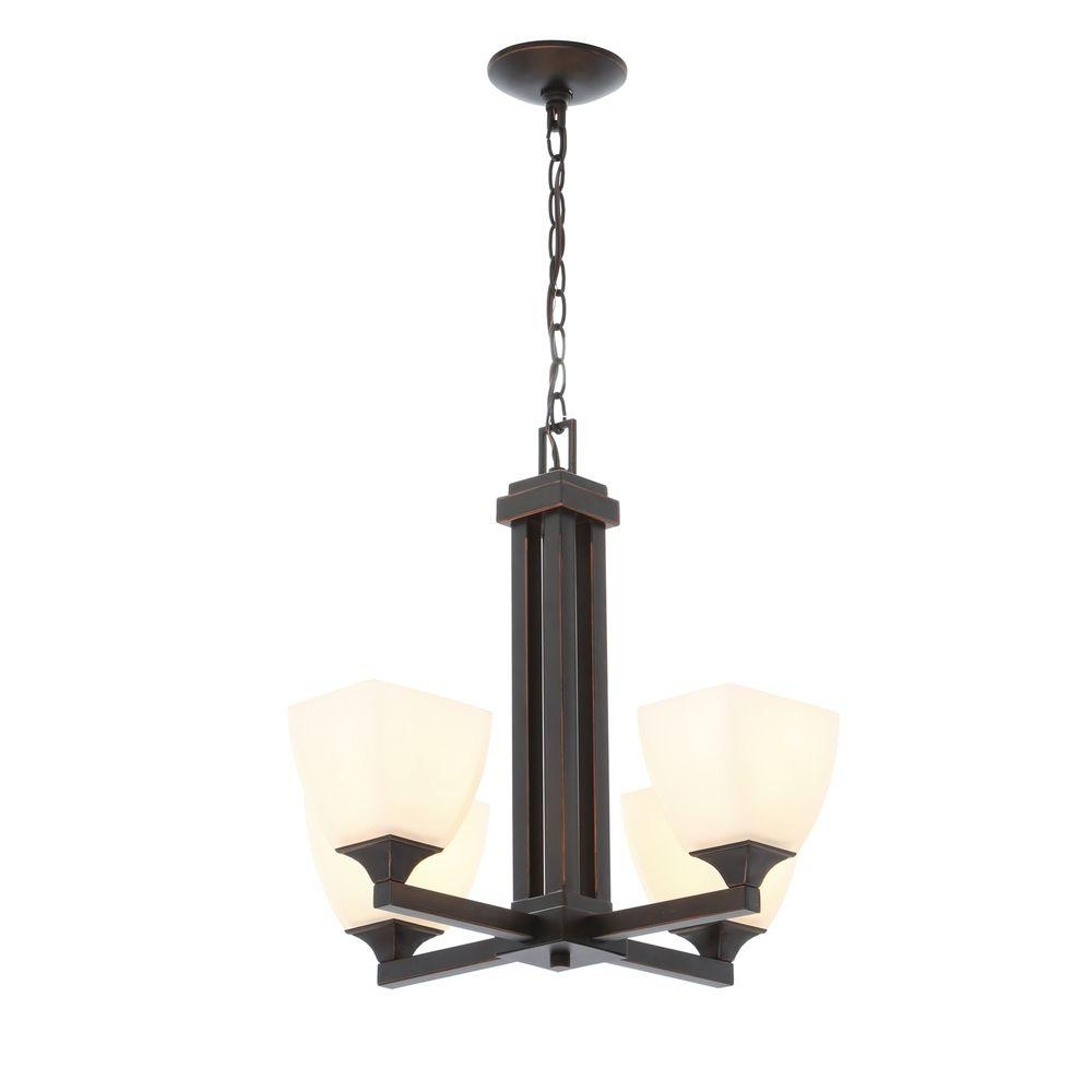 Best And Newest Hampton Bay 4 Light Oil Rubbed Bronze Crystal Small Chandelier Inside Small Bronze Chandelier (View 7 of 20)