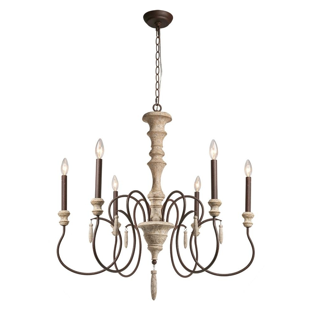 Best And Newest Lnc 6 Light Ivory White Shabby Chic French Country Chandelier A03294 For French Country Chandeliers (View 5 of 20)