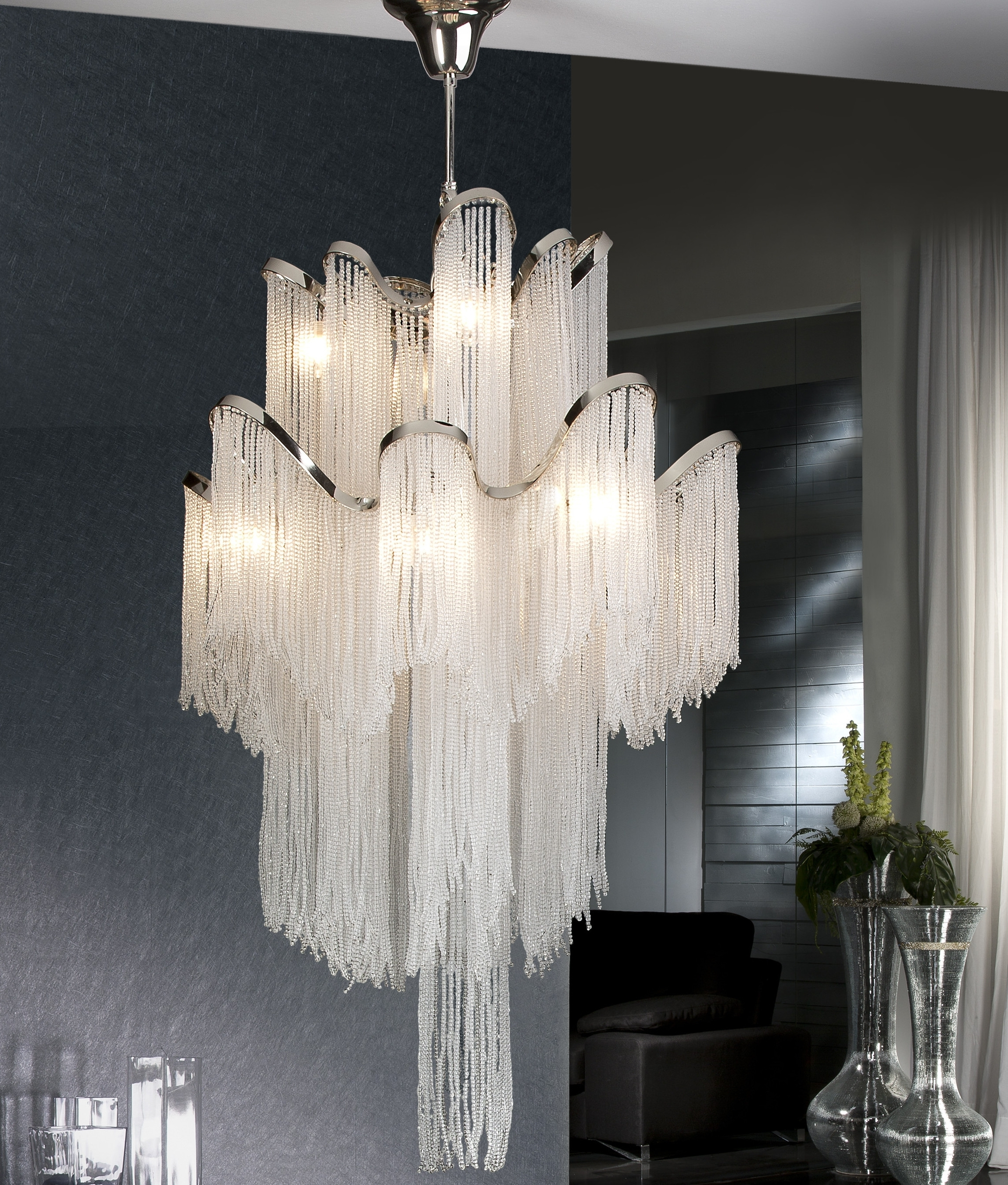 Best And Newest Long Chandelier Lights Intended For Large Long Drop Crystal Feature Light (View 1 of 20)