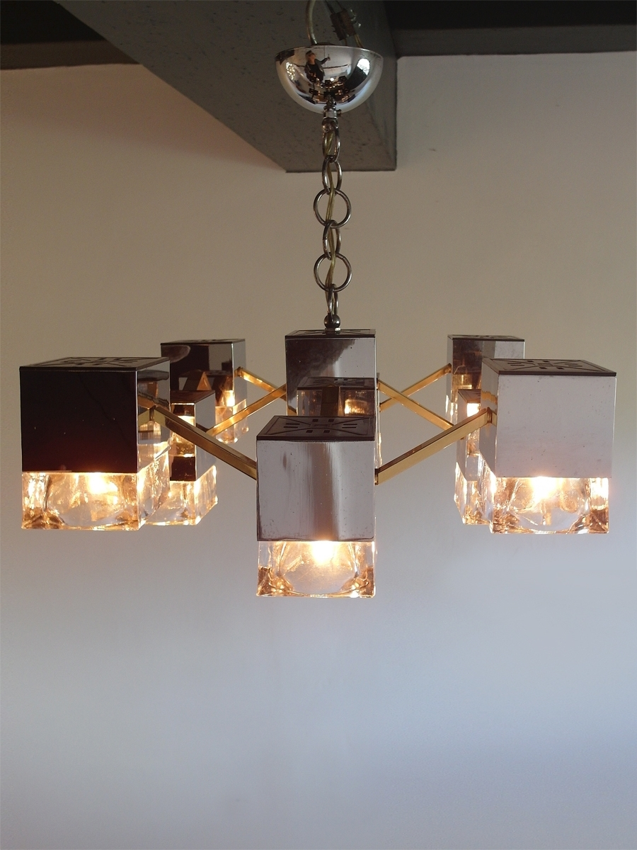 Best And Newest Mirrored Chandelier Pertaining To Mirrored Chandelier With Glass Cubes And Brassgaetano Sciolari (View 4 of 20)