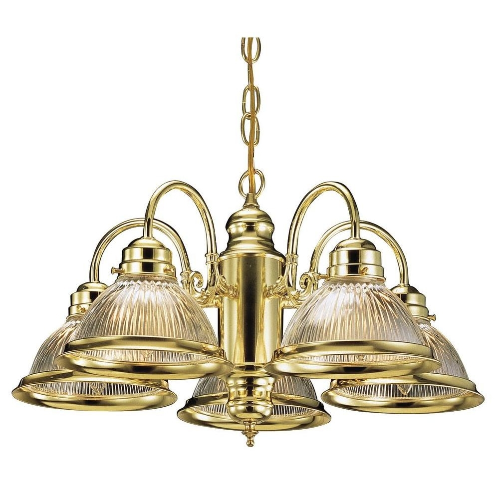 Best And Newest Old Brass Chandeliers Pertaining To Design House Millbridge 5 Light Satin Nickel Chandelier 511535 – The (View 12 of 20)