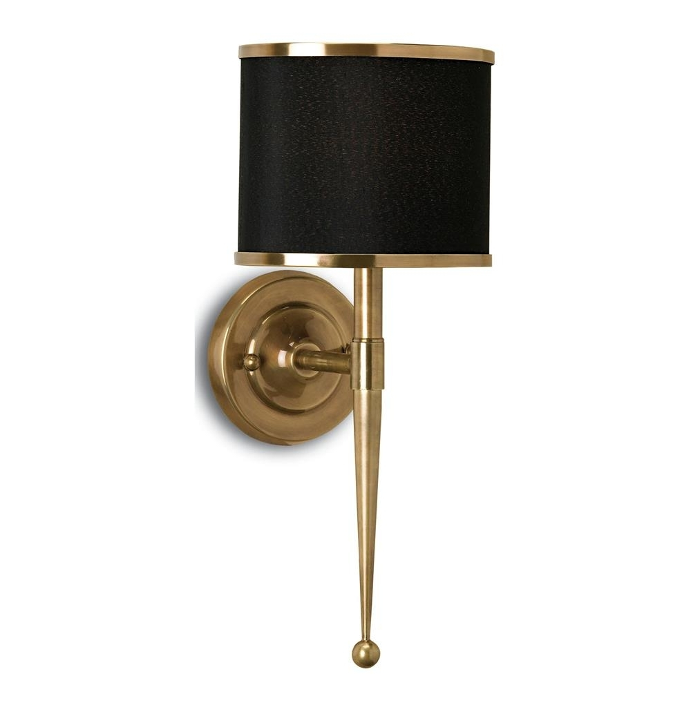 Best And Newest Primo Hollywood Regency Modern Brass Black Wall Sconce (View 2 of 20)