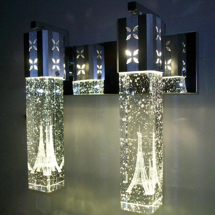 Best New Modern 5W Led Crystal Bubble Wall Lamp Crystal Cylinder Inside Most Current Chandelier Mirror (View 2 of 20)