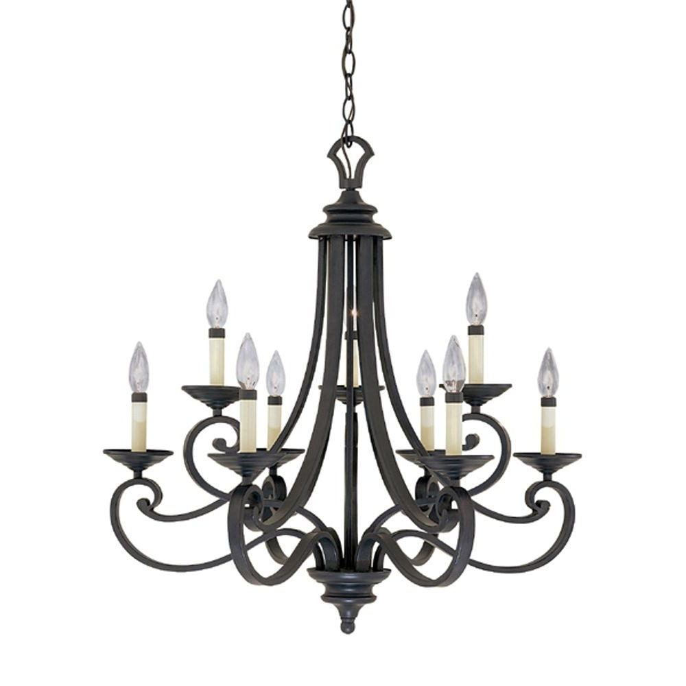 Black – Candle Style – Chandeliers – Lighting – The Home Depot With Regard To Best And Newest Hanging Candelabra Chandeliers (View 4 of 20)