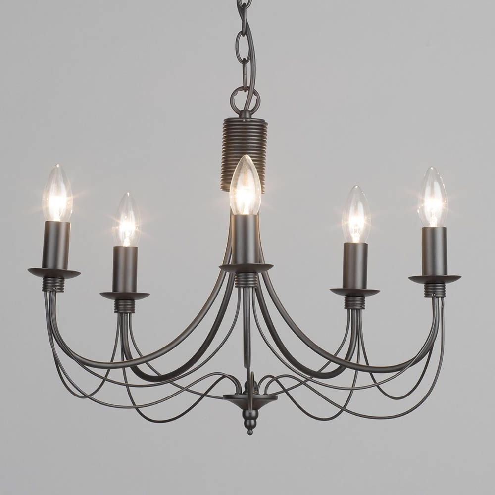 Black Chandelier Throughout Fashionable Black Chandelier Somerset Candle – 5 Light From Litecraft (View 4 of 20)