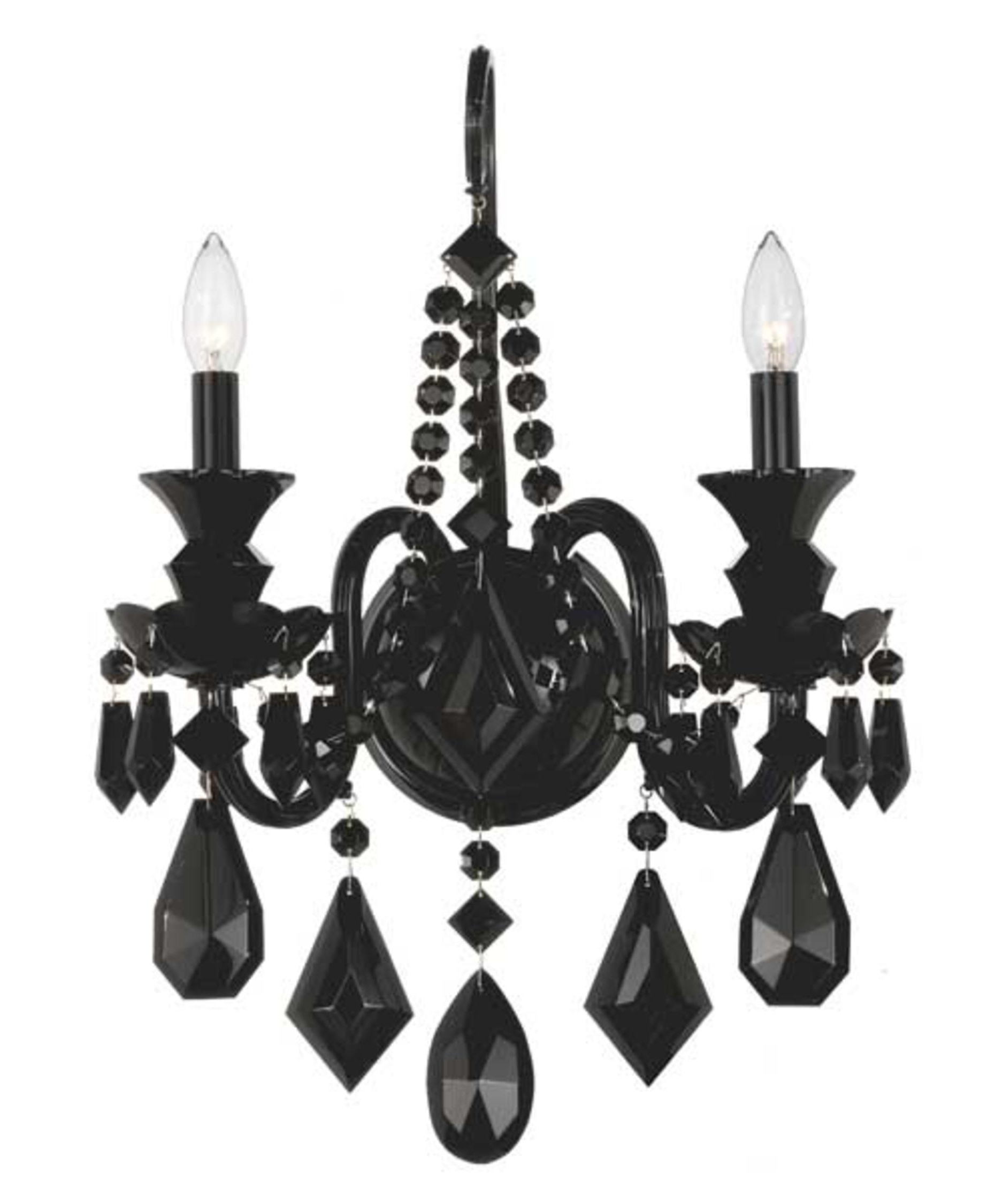 Black Chandelier Wall Lights For Preferred Schonbek 5702bk Hamilton Black 15 Inch Wide Wall Sconce (View 3 of 20)