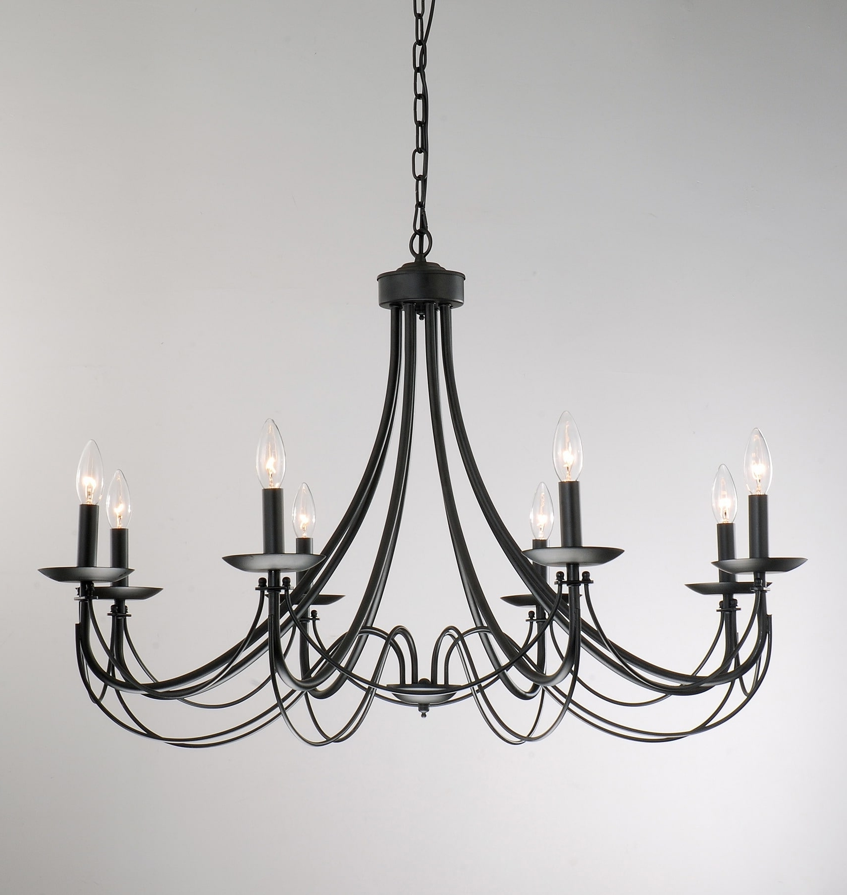 Black Chandelier Within Trendy The Gray Barn Calloway Hill Iron 8 Light Black Chandelier – Free (View 6 of 20)