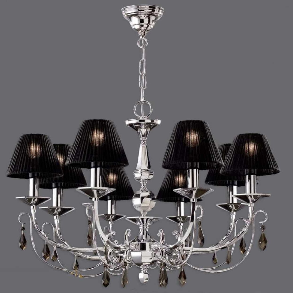 Black Chandeliers With Shades Regarding Current Black Lamp Shade With Crystals Fringed Also Chandeliers Design (View 5 of 20)