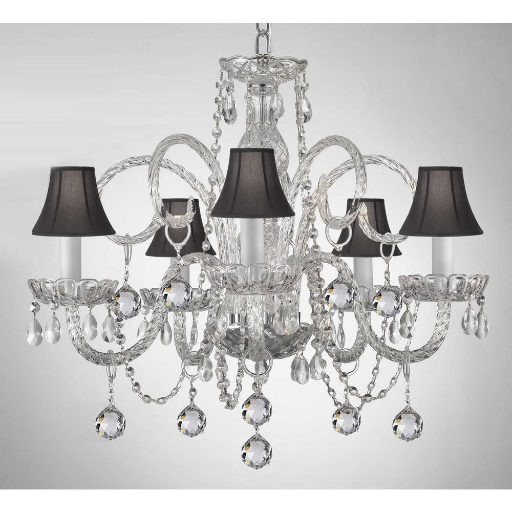 Black Chandeliers With Shades Throughout Most Current Empress 5 Light Crystal Chandelier With Black Shades And Crystal (View 6 of 20)