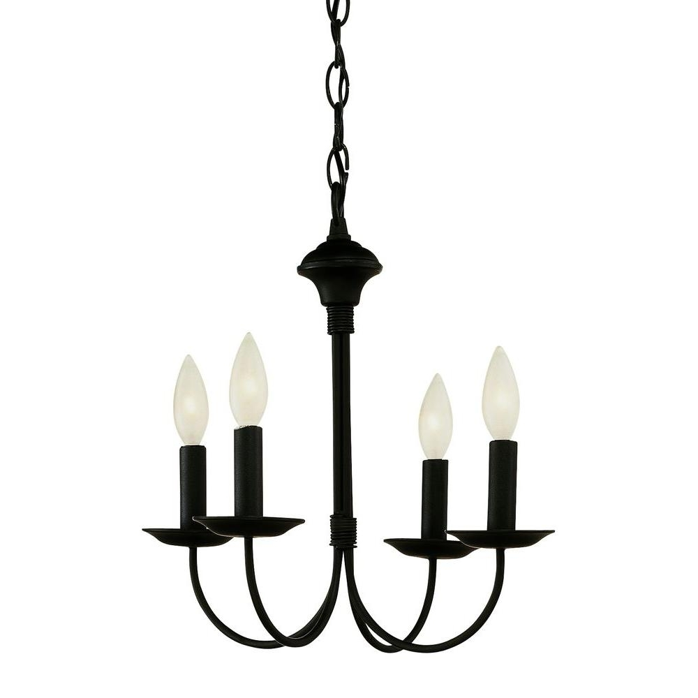 Black Chandeliers Within Newest Bel Air Lighting Cabernet Collection 4 Light Black Chandelier (View 8 of 20)