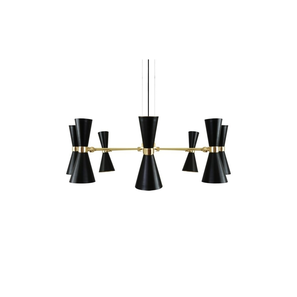 Black Contemporary Chandelier Pertaining To Fashionable Modern 8 Light Polished Brass Black Chandelier Lighting And Lights Uk (View 7 of 20)