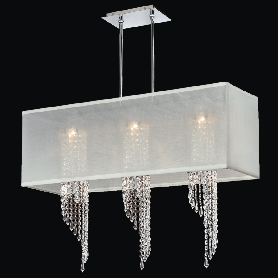 Black Contemporary Chandelier Pertaining To Recent Light : Furniture Hanging Modern Chandelier With White Rectangular (View 10 of 20)
