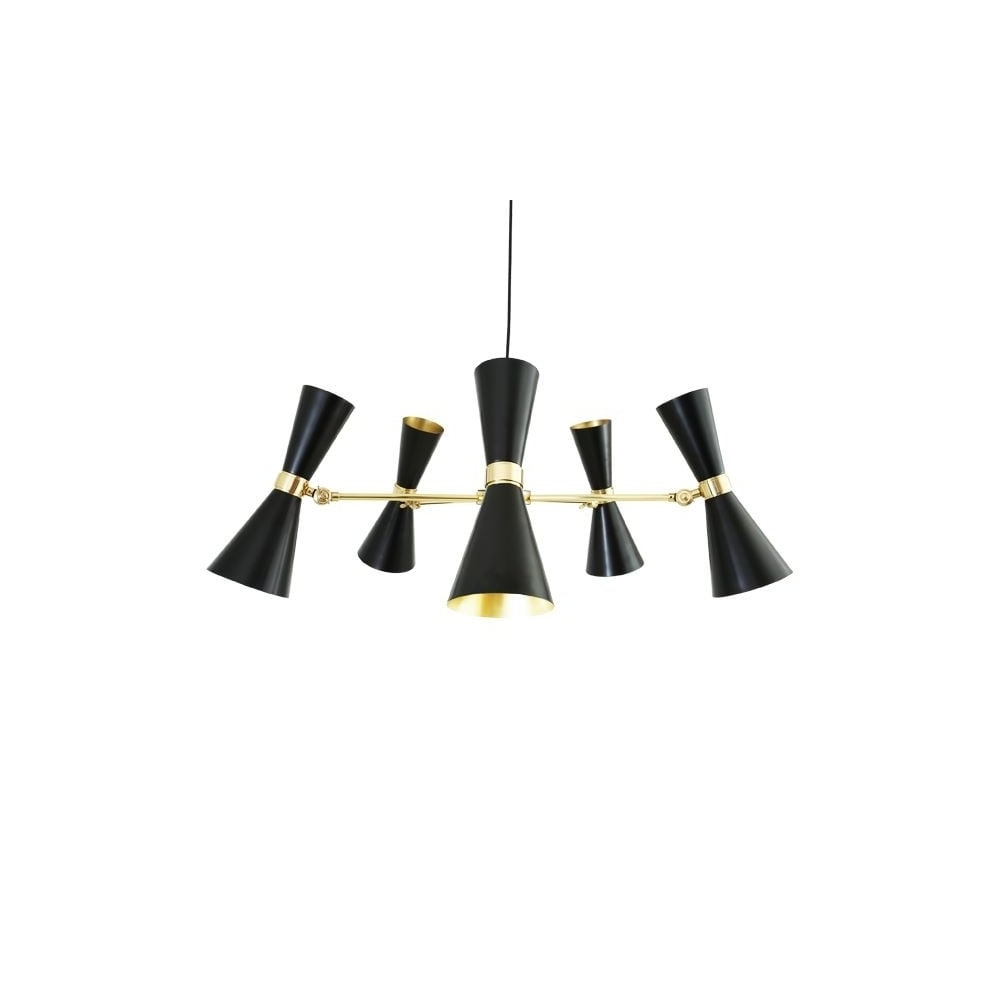 Black Contemporary Chandelier With Regard To Recent Contemporary Black And Brass 5 Light Chandelier – Great For Hotels (View 12 of 20)