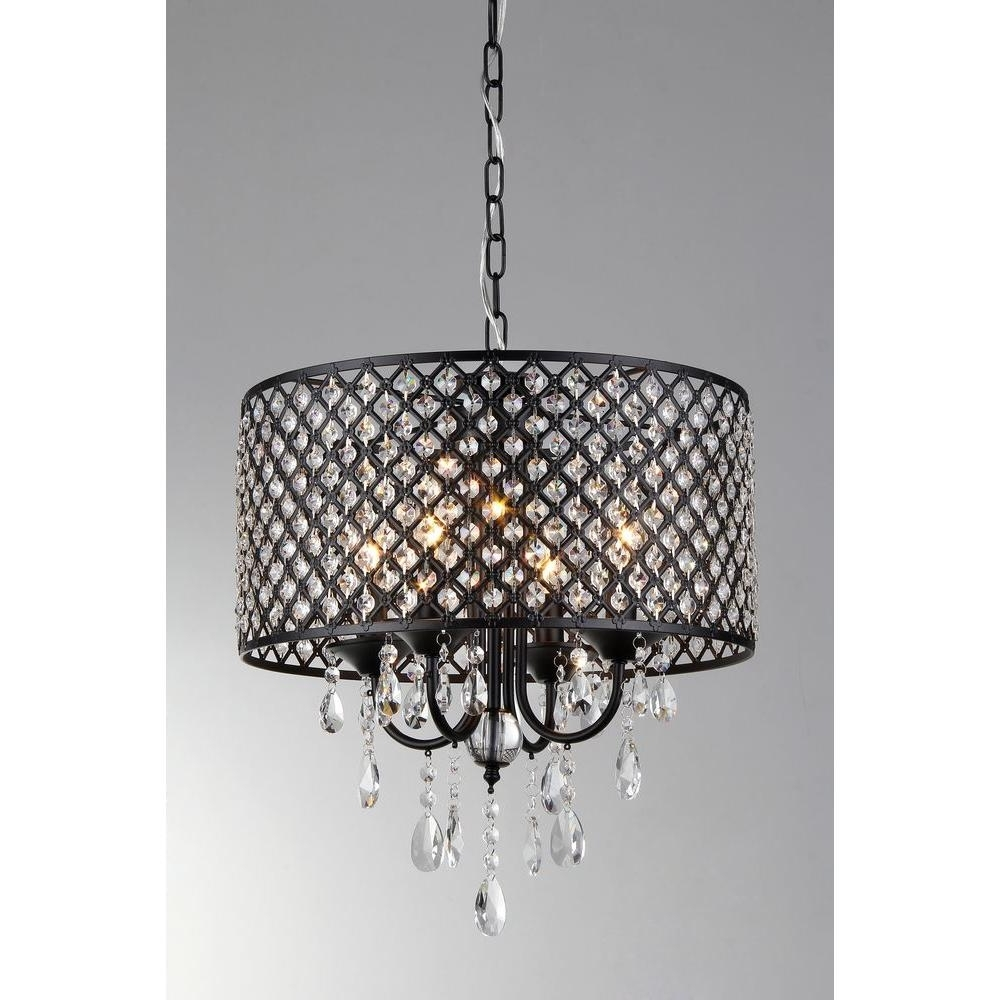 Black – Crystal – Chandeliers – Lighting – The Home Depot With Trendy Chandelier With Shades And Crystals (View 16 of 20)