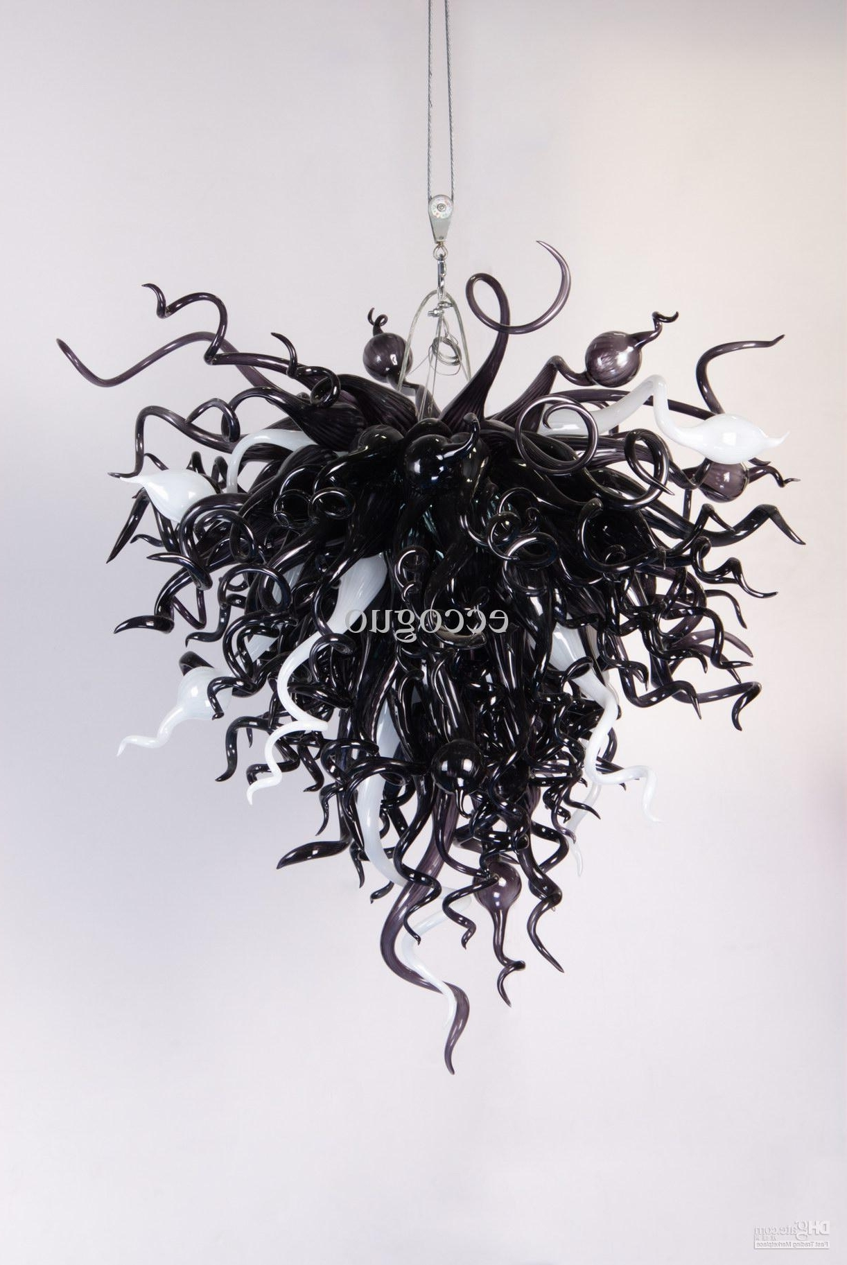 Black Glass Chandelier Within Well Known 2018 Ac/dc Led Lamp Ce/ul Certificate Chihuly Borosilicate Glass Art (View 9 of 20)