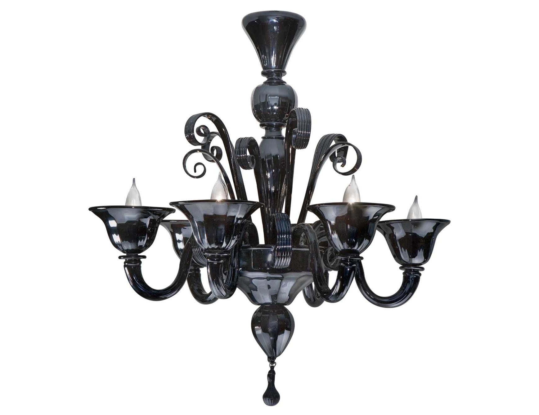 Black Glass Chandeliers For Newest Nella Vetrina Black Murano 6 959/6 Murano Chandelier In Black (View 4 of 20)
