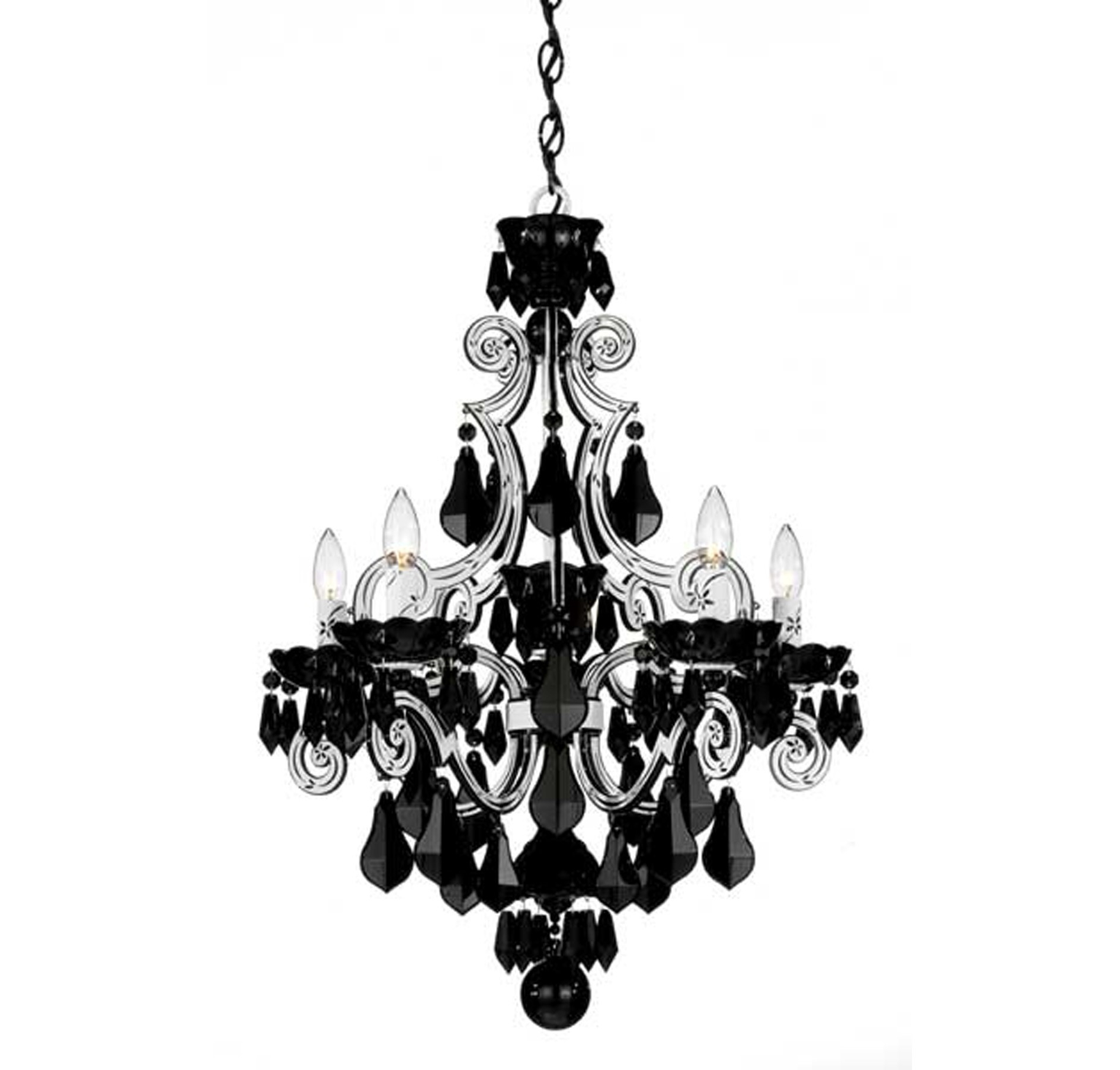 Black Glass Chandeliers Regarding Most Recent Light : Alluring Clear White Black Glass Crystal Chandelier Metal (View 9 of 20)