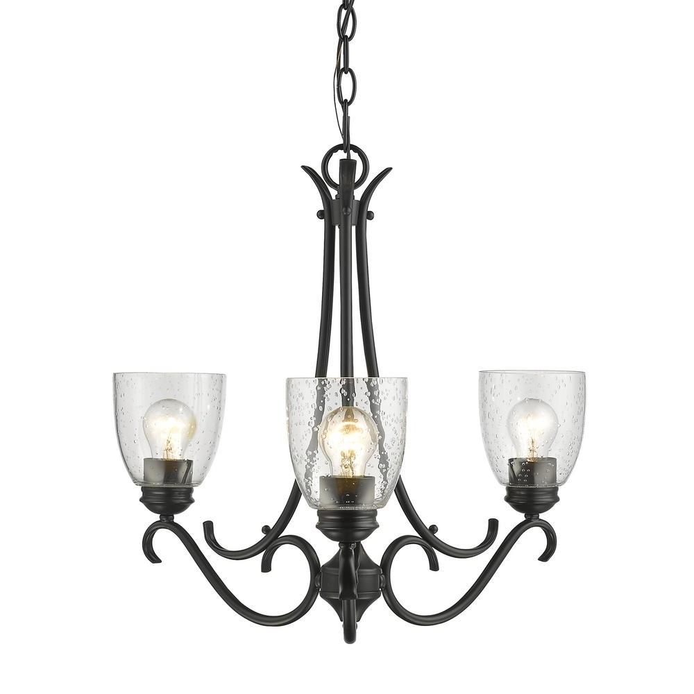 Black Glass Chandeliers Regarding Recent Golden Lighting Parrish 3 Light Black Chandelier With Seeded Glass (View 16 of 20)