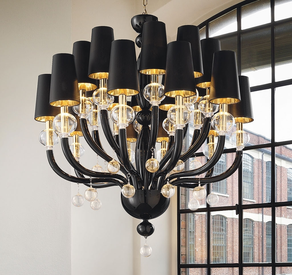 Black Glass Modern Murano Chandelier With Black Lampshades Regarding Best And Newest Black Glass Chandeliers (View 2 of 20)