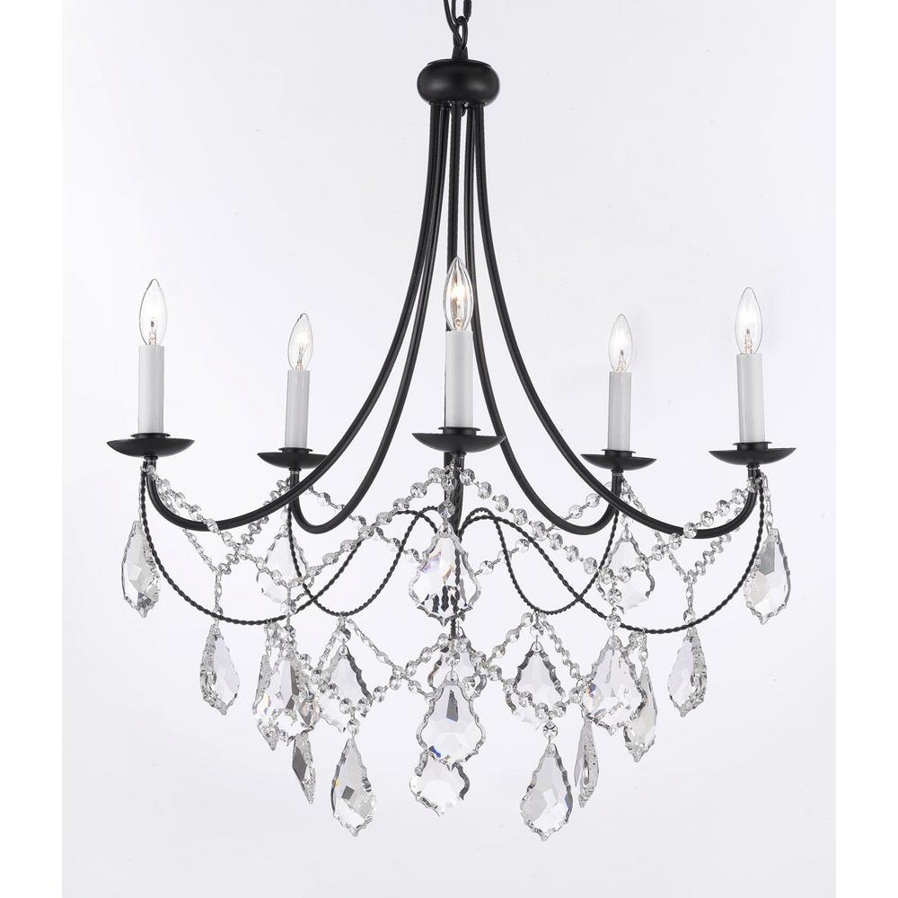 Black Iron Chandeliers Throughout Widely Used Versailles 5 Light Black Iron Chandelier With Crystal T40 588 – The (View 9 of 20)