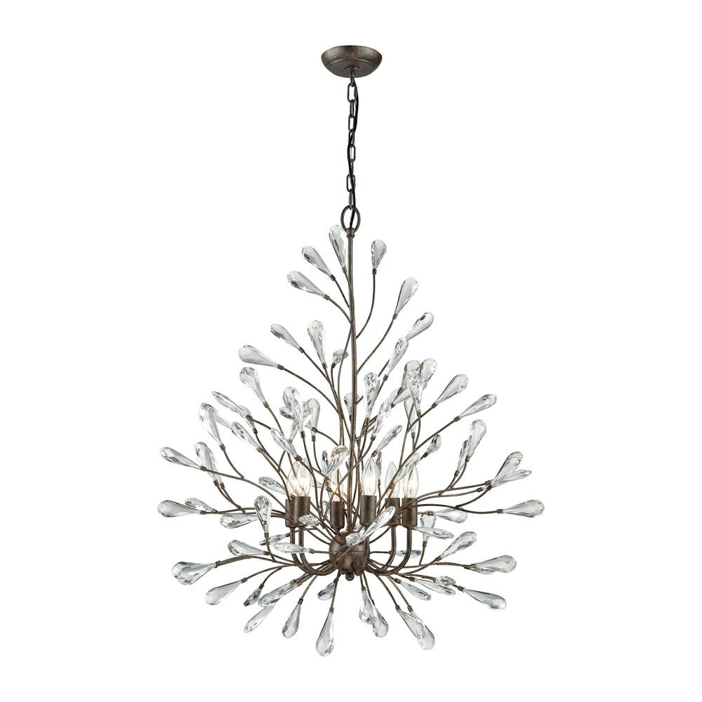 Branch Crystal Chandelier Regarding Most Recently Released Titan Lighting Lexicon 8 Light Long Matte Gold With Clear Crystal (View 9 of 20)