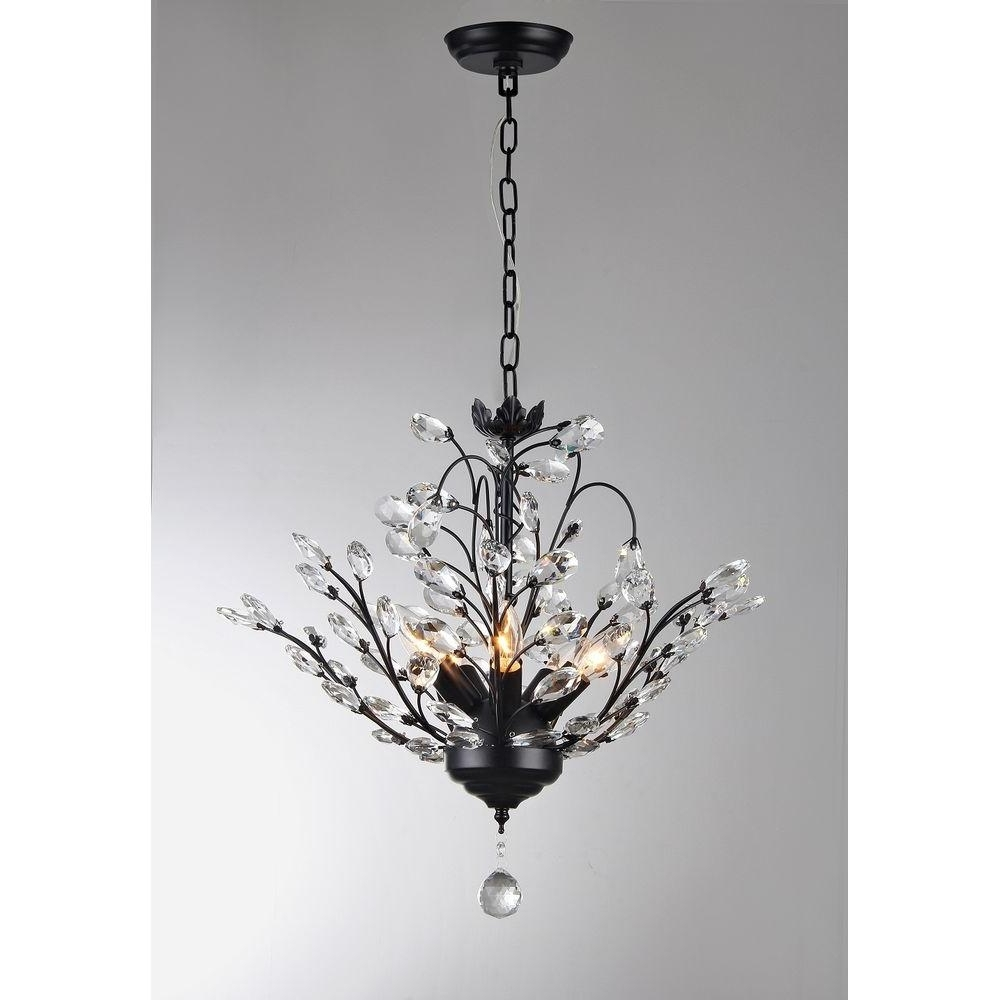 Branch Crystal Chandelier Regarding Well Known Aria 5 Light Black Crystal Leaves Chandelier With Shade P16815 – The (View 10 of 20)