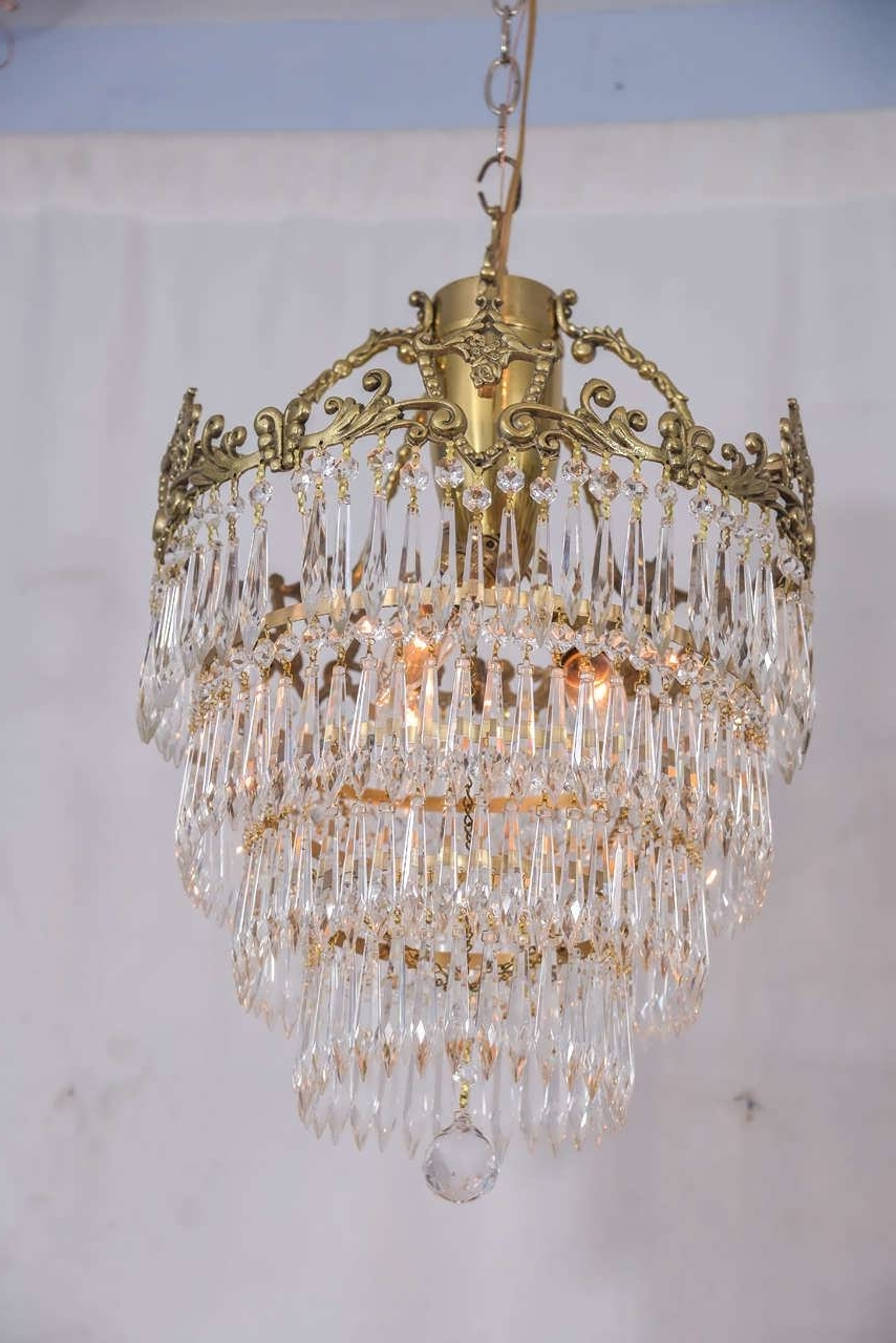 Brass And Crystal Chandeliers Within Most Recently Released Chandelier : Small Crystal Chandelier Pendant Lighting Vintage (View 7 of 20)