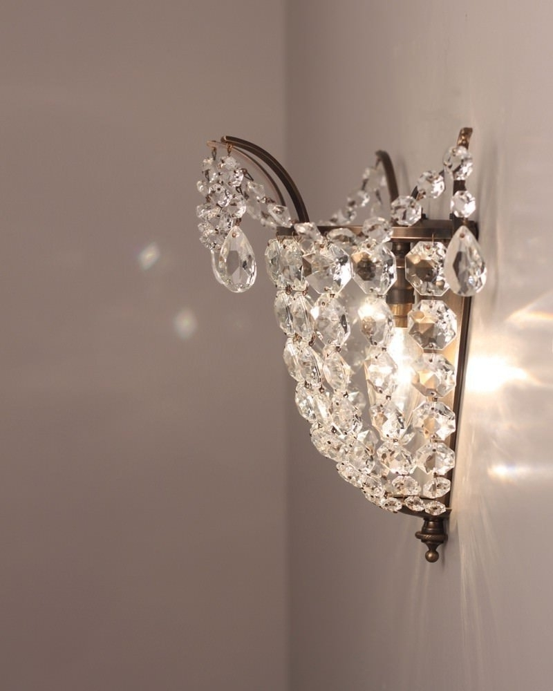 Brass And Crystal Wall Light, Vintage Retro Wall Light In Famous Chandelier Wall Lights (View 5 of 20)