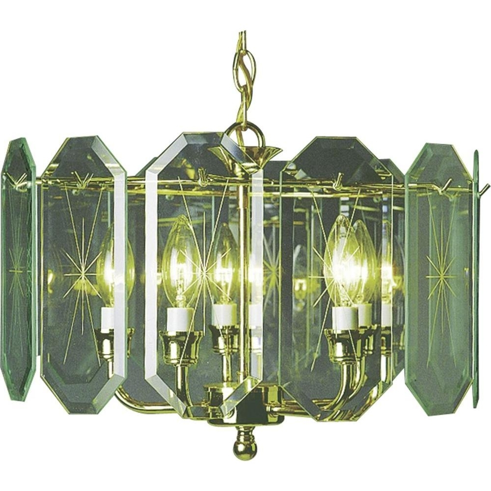 Brass And Glass Chandelier With Best And Newest Brass – Chandeliers – Lighting – The Home Depot (View 7 of 20)