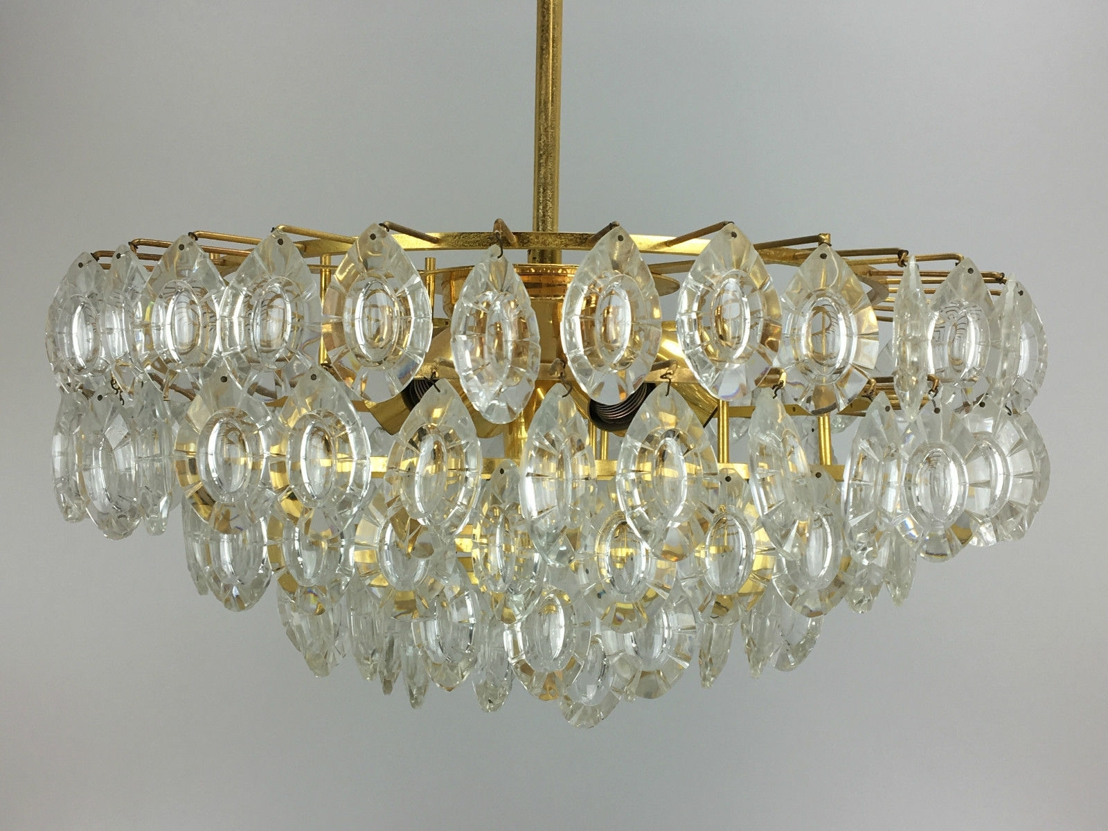 Brass And Glass Chandelier With Regard To Trendy Brass & Glass Chandelier From Kinkeldey, 1960S For Sale At Pamono (View 8 of 20)