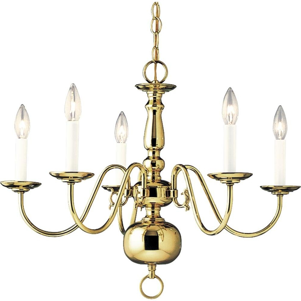 Brass Chandeliers Pertaining To Most Recent Progress Lighting Americana Collection 5 Light Polished Brass (View 7 of 20)