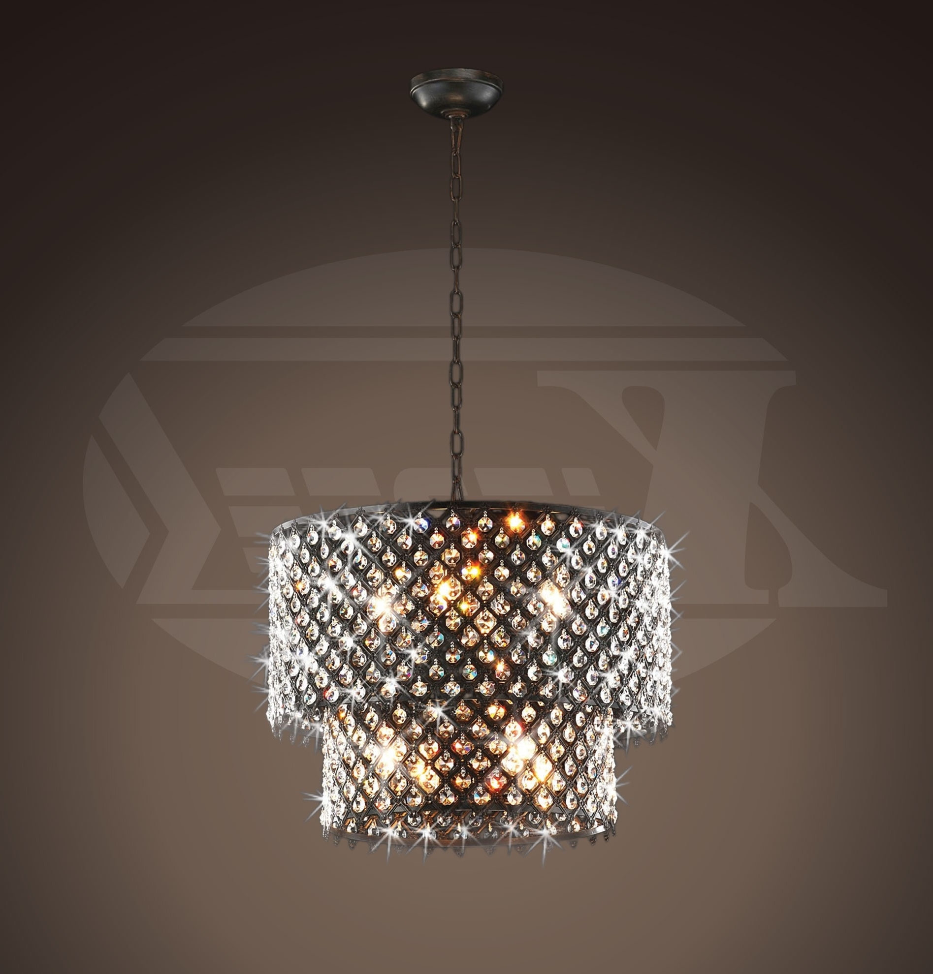 Bronze And Crystal Chandeliers Regarding Latest Bella Jean Antique Bronze 8 Light Double Round Crystal Chandelier (View 3 of 20)
