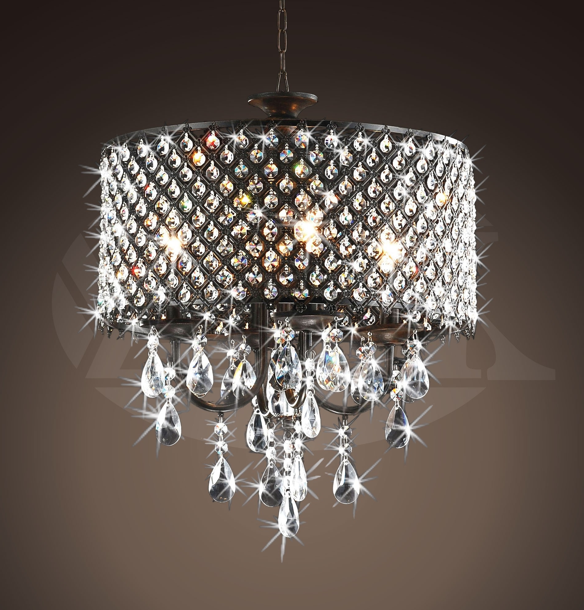 Bronze And Crystal Chandeliers With Most Up To Date Rachelle 4 Light Round Antique Bronze Brass Crystal Chandelier (View 5 of 20)