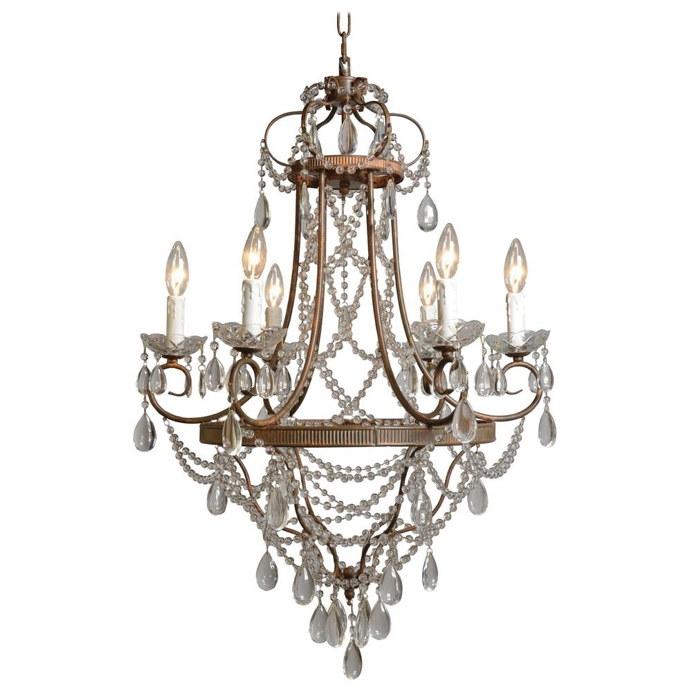 Bronze And Crystal Chandeliers With Regard To Most Current Y Decor Palais 6 Light Antique Bronze Chandelier With Crystal Beads (View 6 of 20)
