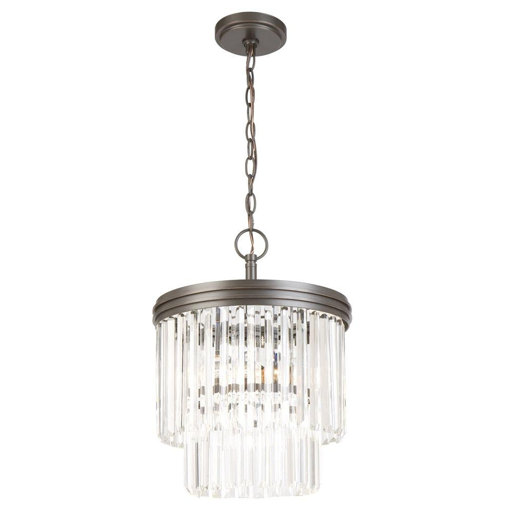 Bronze And Crystal Chandeliers Within Widely Used Hampton Bay 2 Light Oil Rubbed Bronze Crystal 2 Tier Chandelier (View 8 of 20)