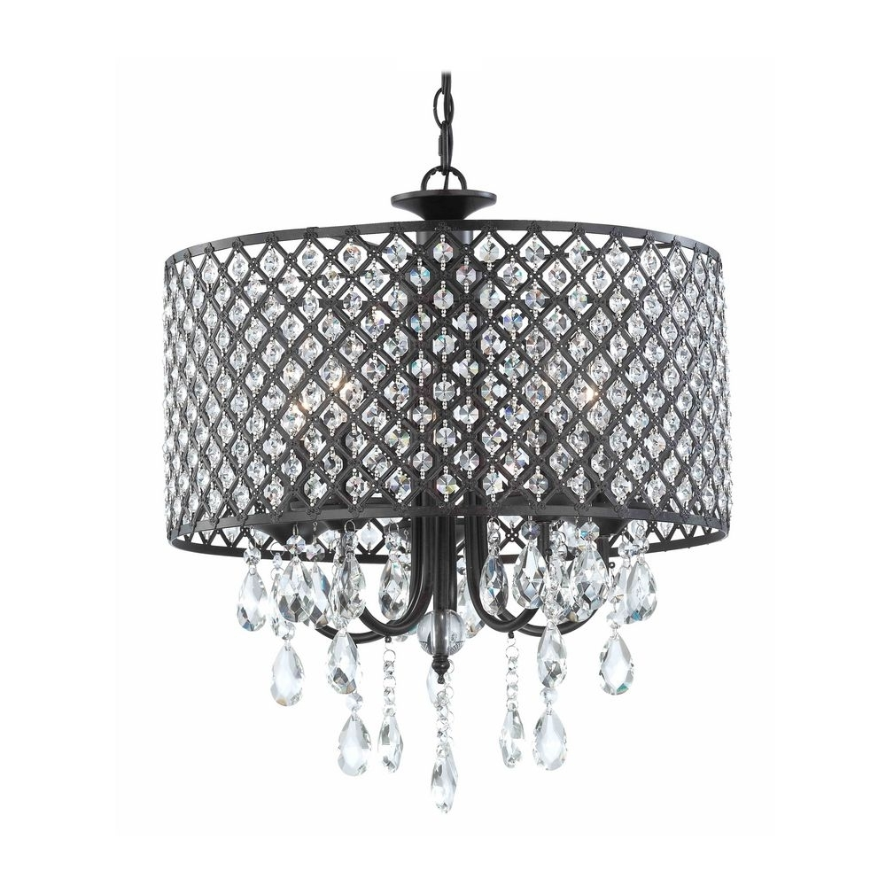 Bronze Modern Chandelier Intended For Newest Modern Chandelier With Hanging Crystal And Round Bronze Drum Shades (View 7 of 20)