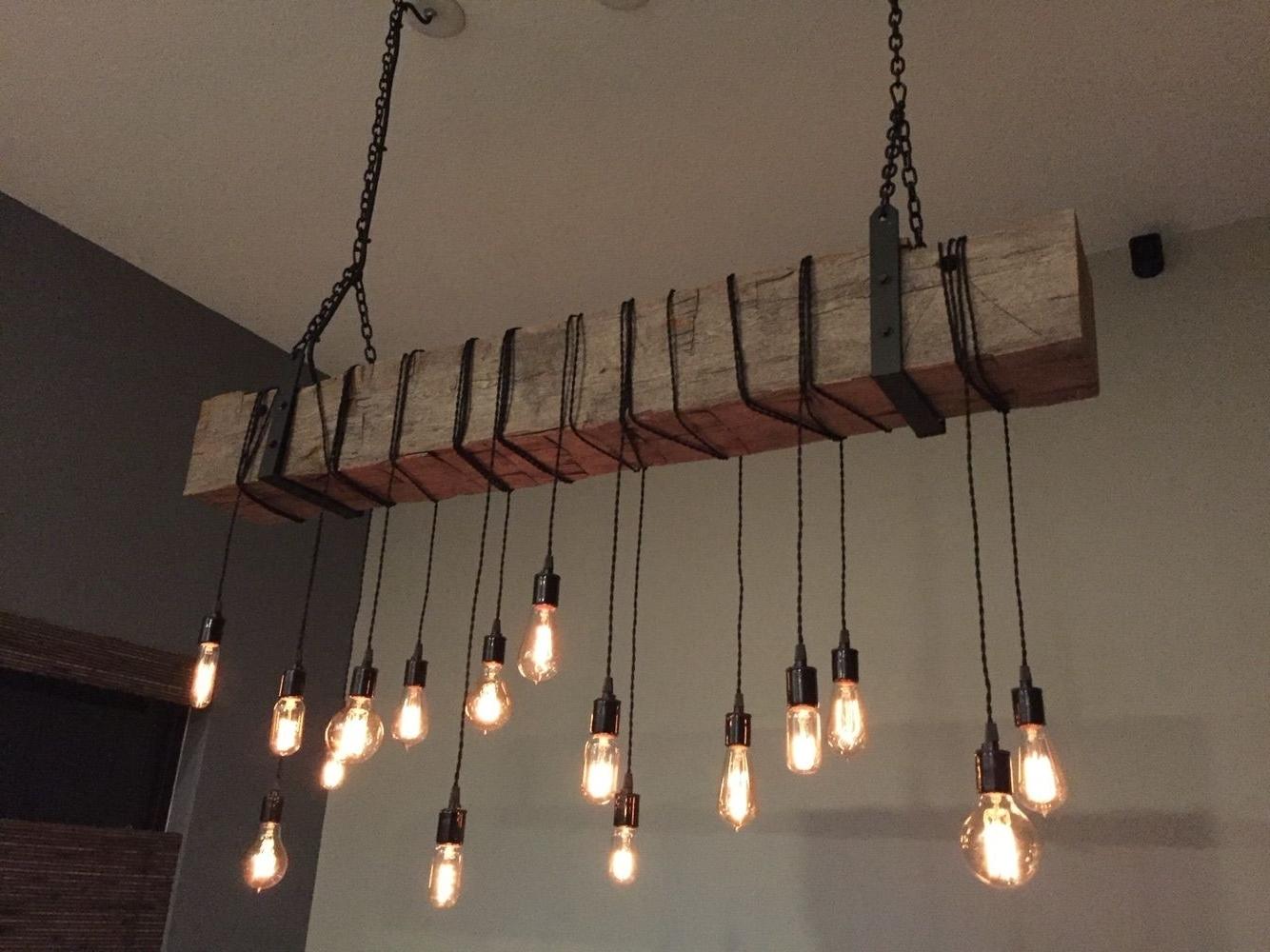 Buy A Custom Reclaimed Barn Beam Chandelier Light Fixture (View 4 of 20)