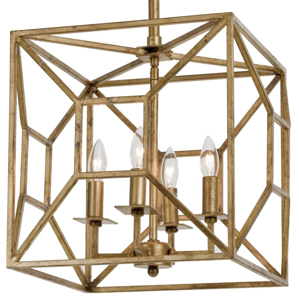 Cage Chandeliers Intended For Most Popular Tippi Hollywood Regency Gold Leaf Geo Cage 4 Light Chandelier (View 6 of 20)