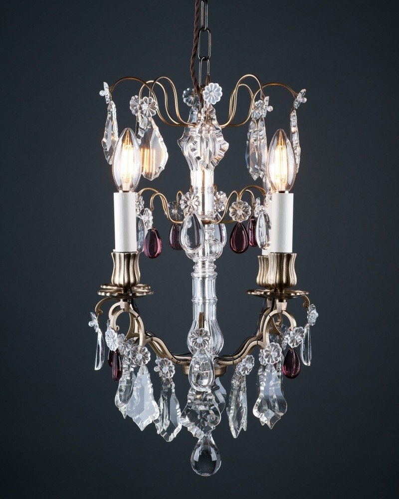 Cage Crystal Chandelier With Purple Crystal Droppers, Antique Lighting In Latest Purple Crystal Chandelier Lighting (View 16 of 20)