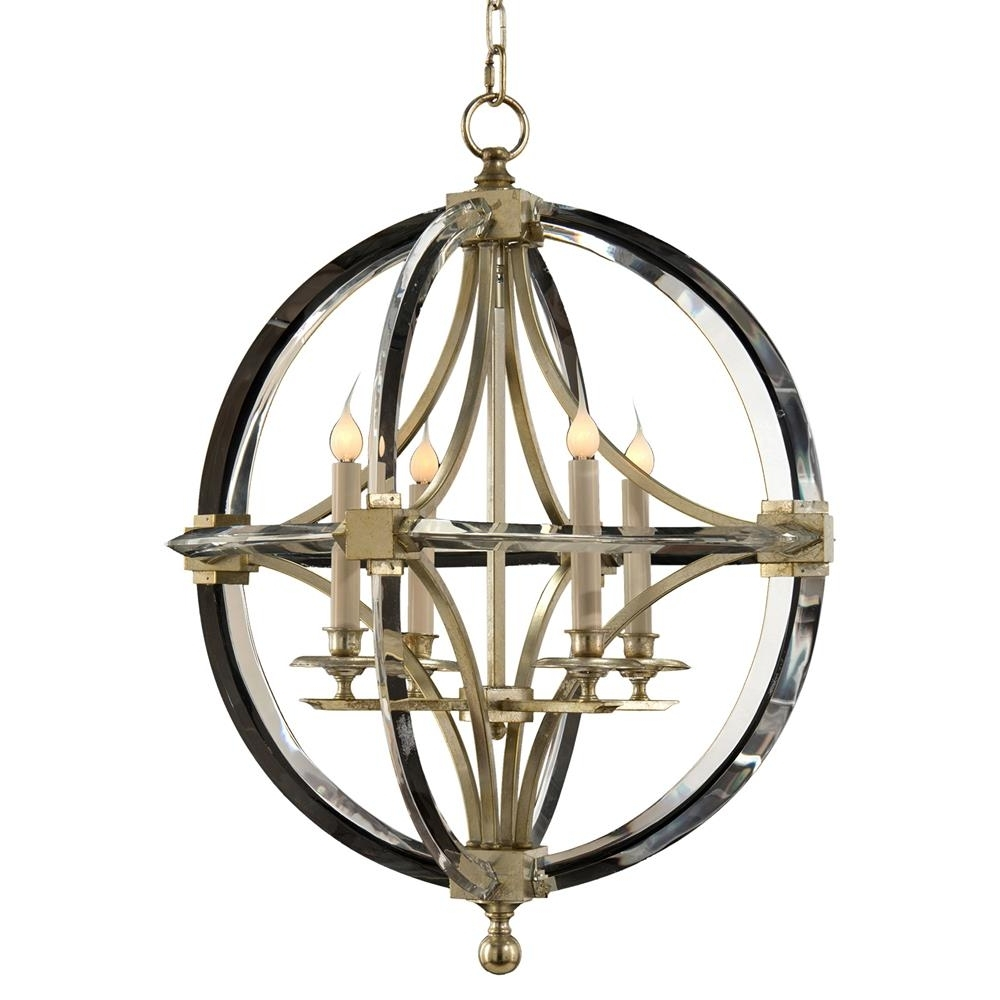 Caged Chandelier With Regard To Recent Dorry Modern Silver Leaf Crystal Circle Caged Chandelier (View 11 of 20)