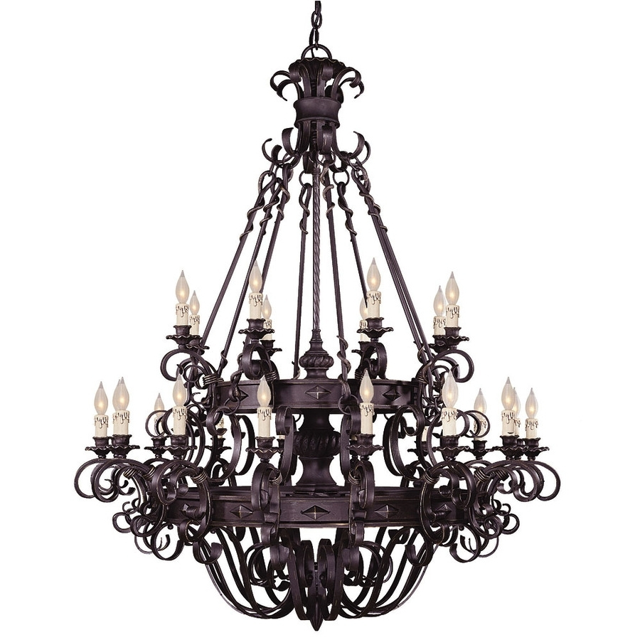 Candle Chandelier Regarding Favorite Shop Shandy 48 In 24 Light Forged Black Candle Chandelier At Lowes (View 12 of 20)
