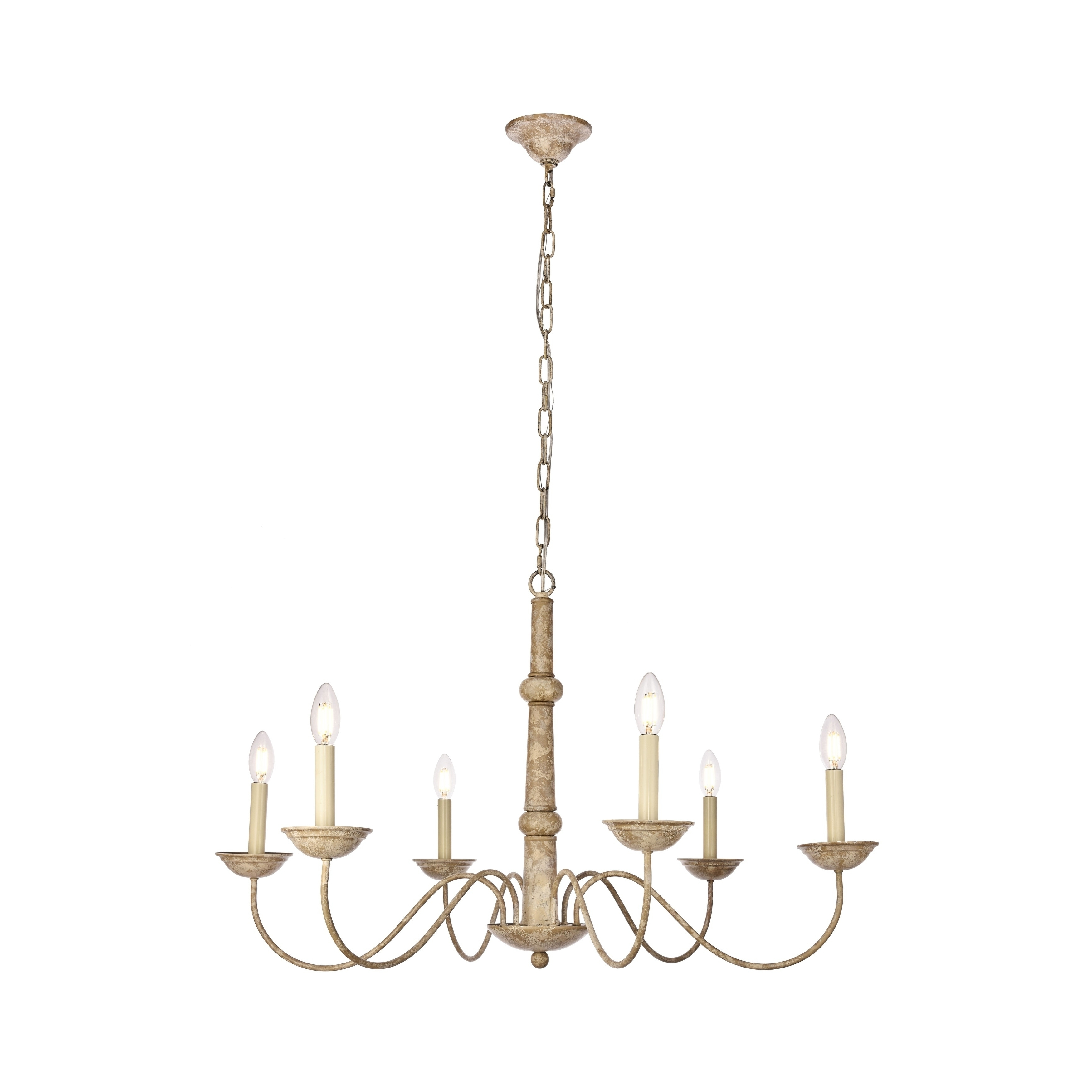 Candle Light Chandelier Inside Current Merritt Collection Iron 6 Light Chandelier – Free Shipping Today (View 5 of 20)