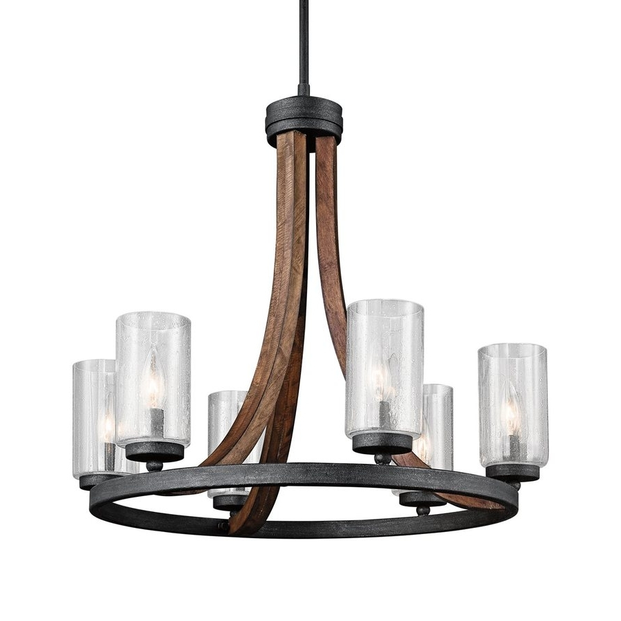 Candle Look Chandeliers With Fashionable Shop Kichler Grand Bank 25 In 6 Light Auburn Stained Wood With (View 13 of 20)